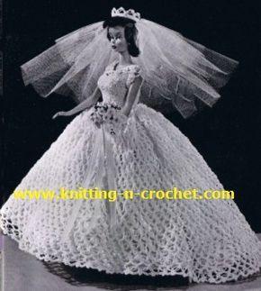Free crochet wedding dress pattern beautiful wedding gown in free crochet wedding dress pattern beautiful wedding gown in crochet for dolls junglespirit Gallery