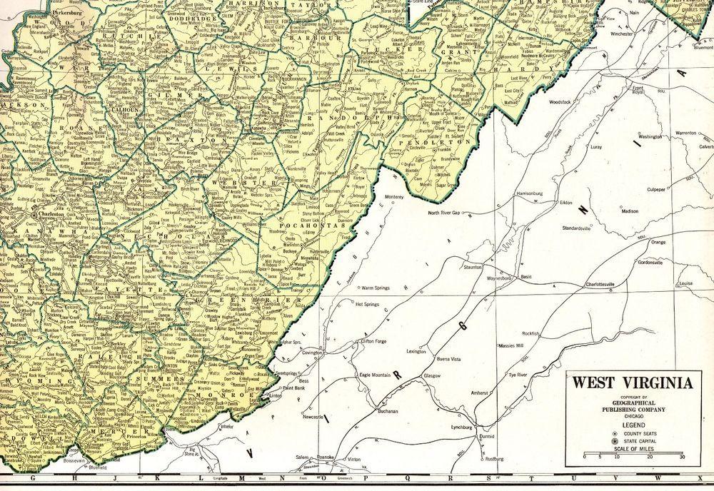 1941 Antique WEST VIRGINIA Map Rare Poster Size Vintage Map ...