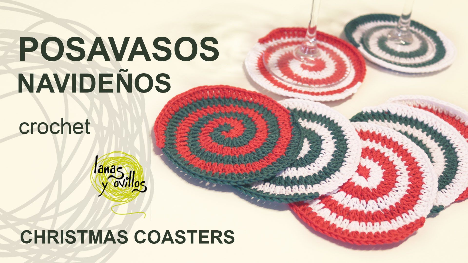 Tutorial Posavasos Espiral Navideños Christmas Coasters | ganchillo ...
