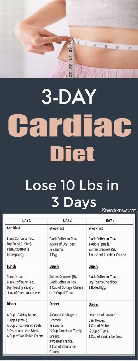 3Day Cardiac Diet Lose 10 Pounds or More in 3 Days