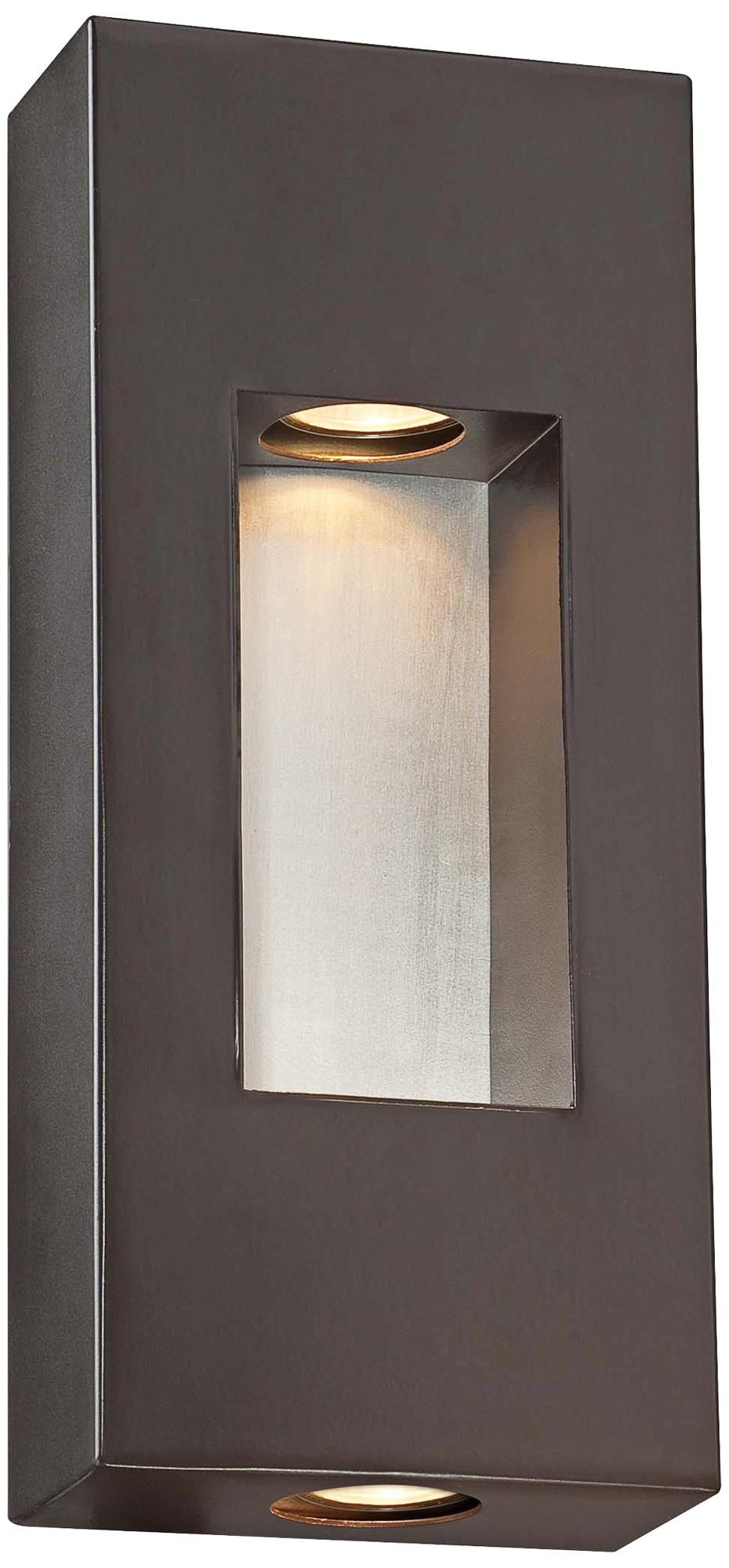 Gorgeous And Clean Lines For Outdoor Wall Lighting Minka Geox 14 High Bronze Pocket Light Lampsplus Com