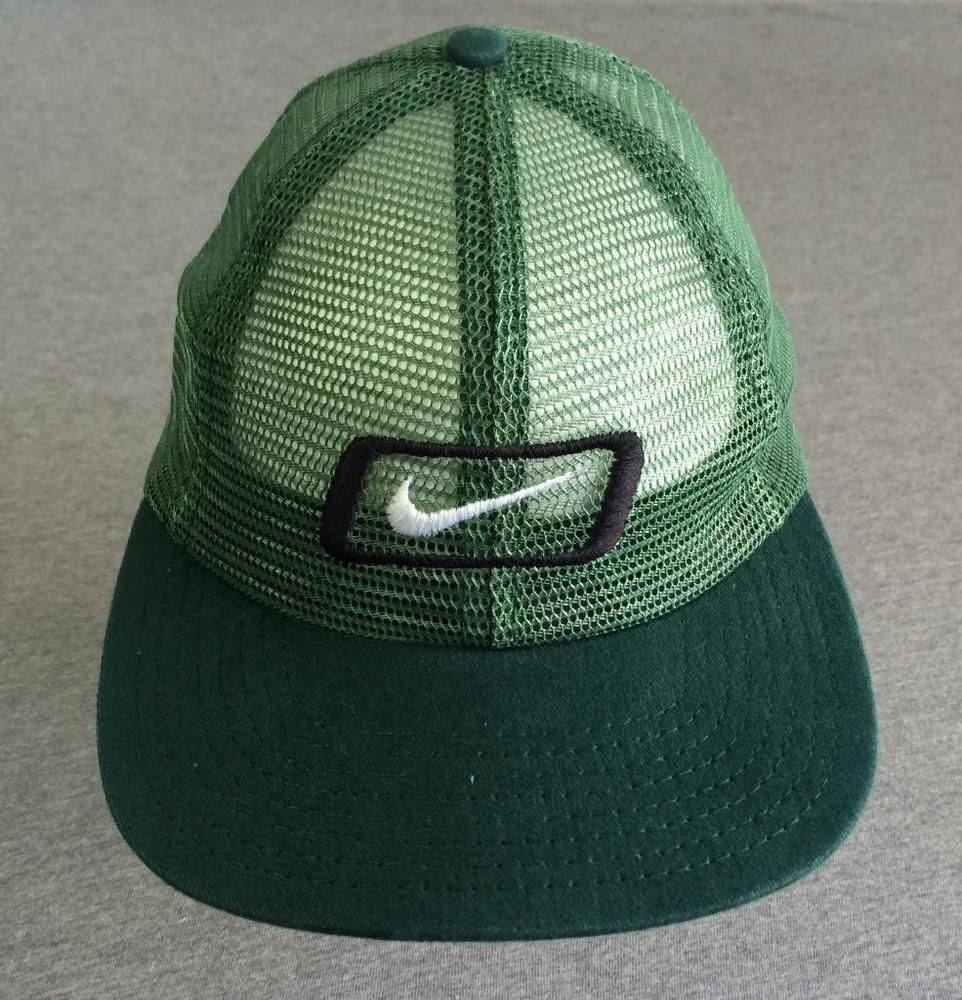 0416e386 NIKE Hat Snap Back SWOOSH BOX LOGO 90's Vintage RARE! All Mesh USA Made  Green #Nike