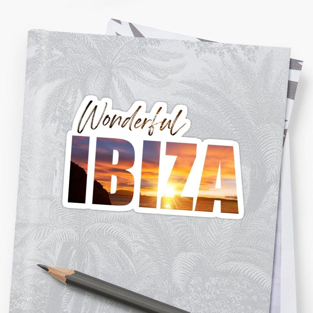 Pegatina wonderful Ibiza con una puesta de sol de fondo