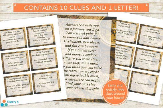 printable treasure hunt letter clues instant download pdf rh pinterest com