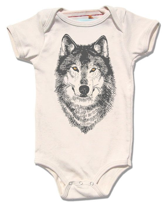 2b73108be Organic WOLF onesie with gold foil eyes infant baby by alittlelark