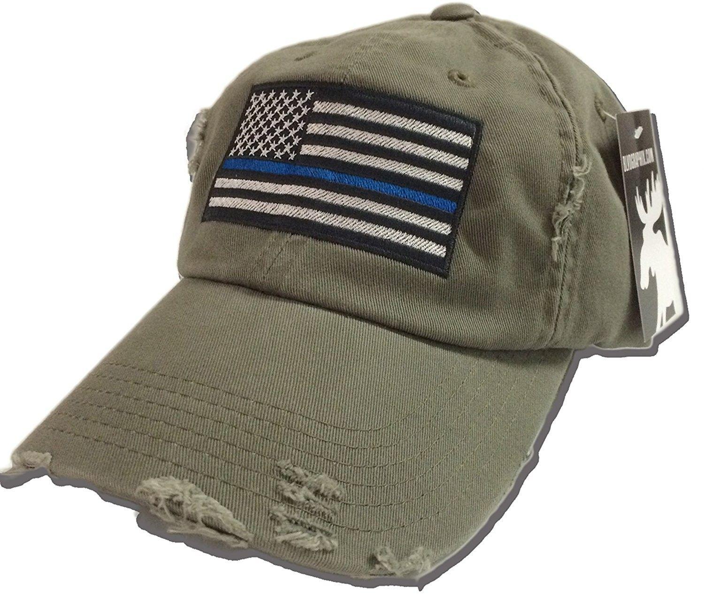 Thin Blue Line LEO American Flag Hat   cap Olive Green - CQ129HUOWGX - Hats    Caps e6a1d755cda