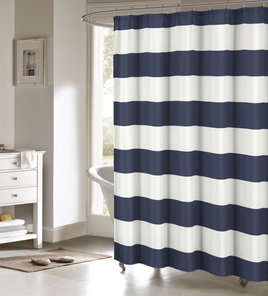 Toto Navy Blue Large White Stripes Striped Fabric Shower Curtain ...