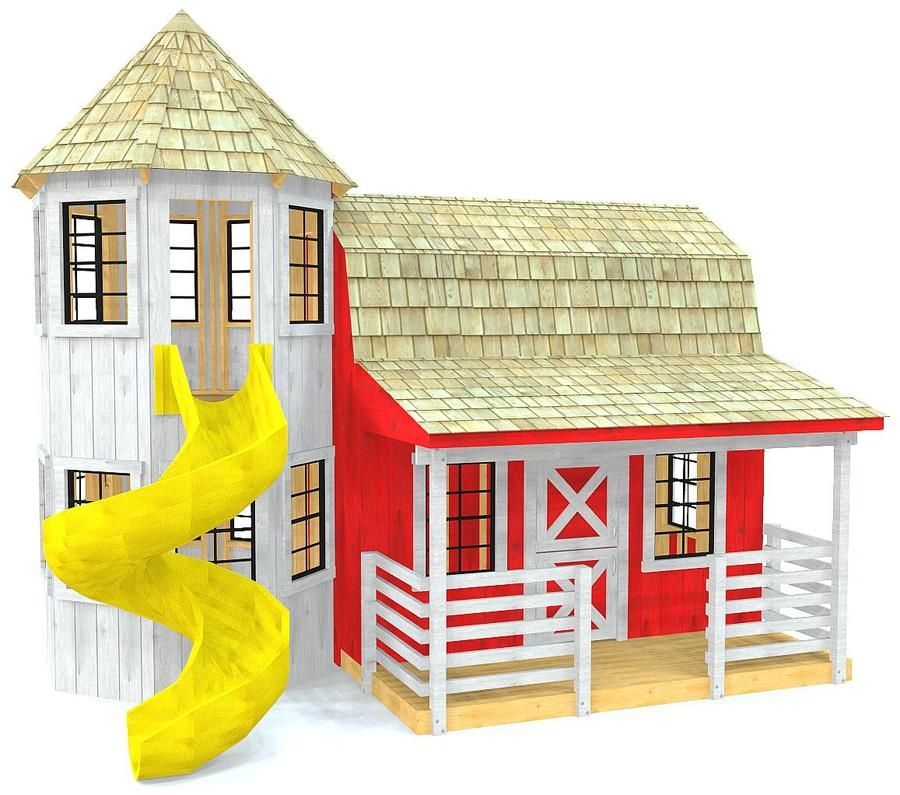 barn playhouse plan with attached silo and slide little ass kicker rh pinterest com