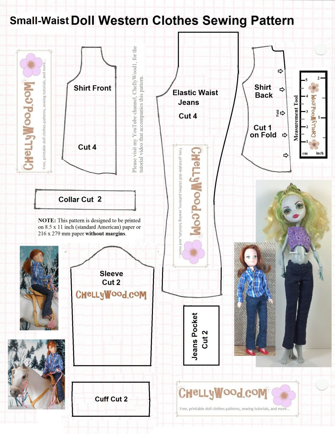 image is a free printable sewing pattern for small dolls long rh pinterest ca