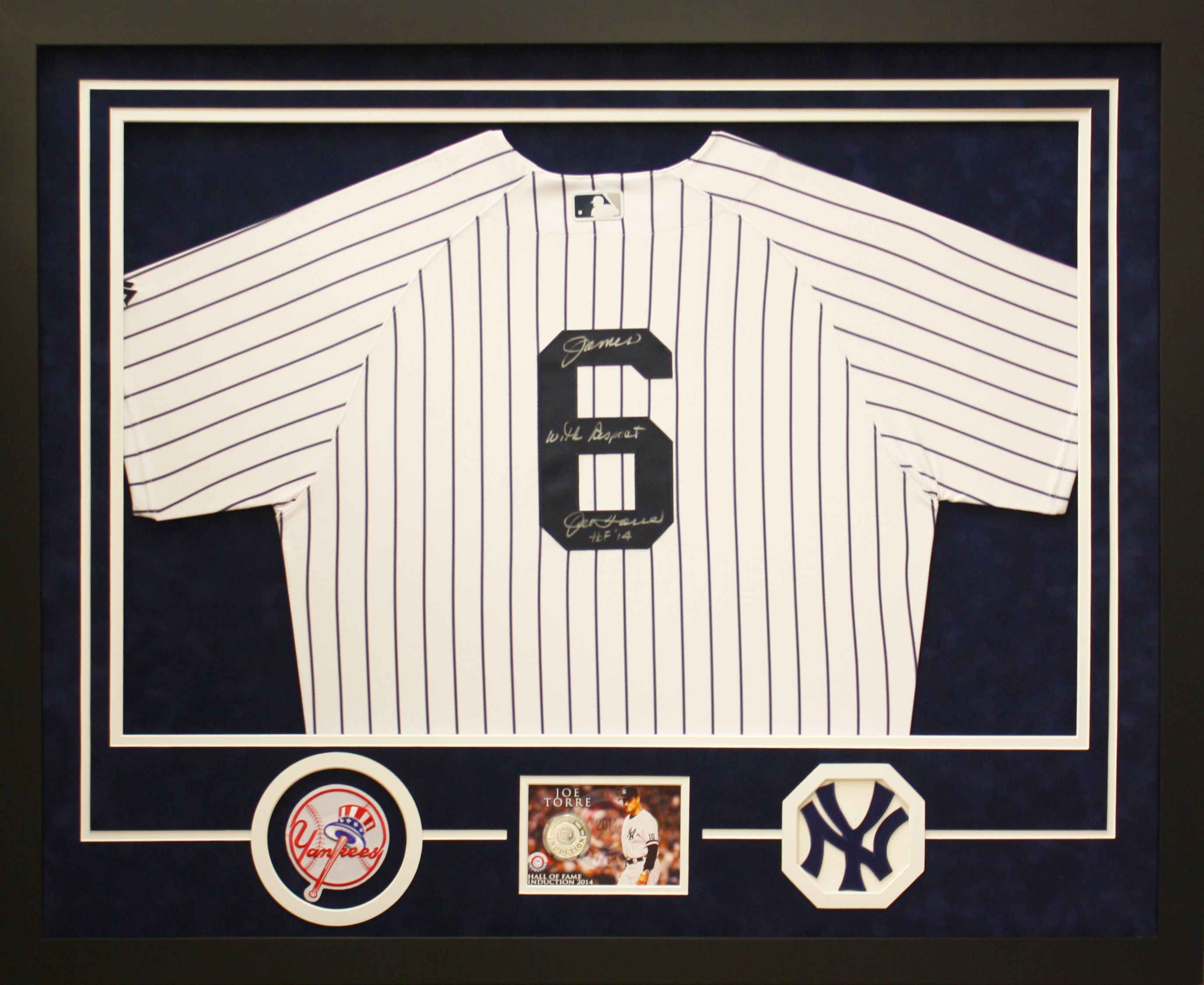 69132e6a New York Yankees Joe Torre Hall of Fame induction collage in a simple black  frame with
