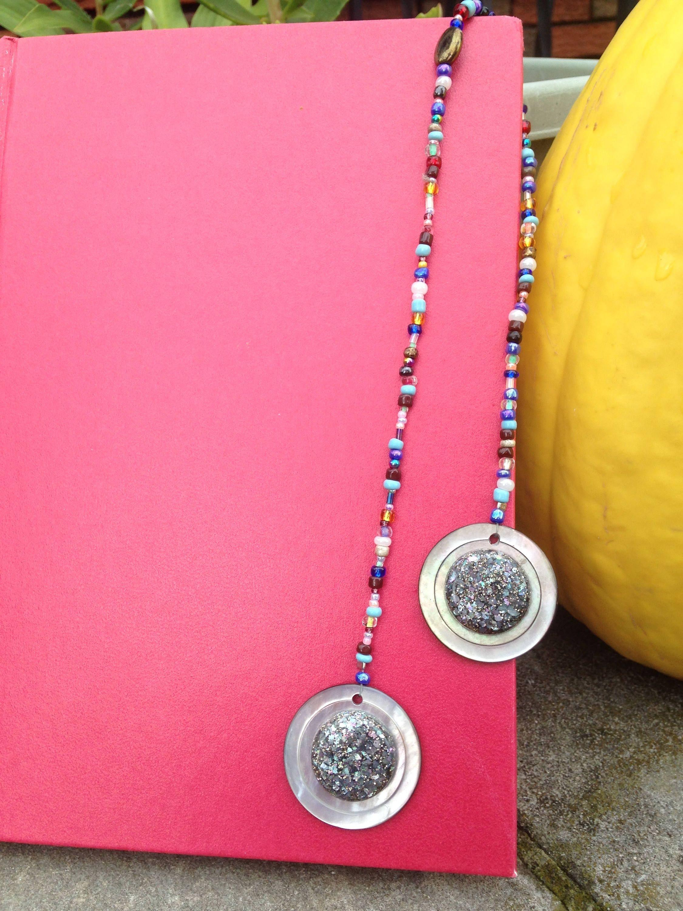 Multi Color Beaded Bookmark Made with Iridescent