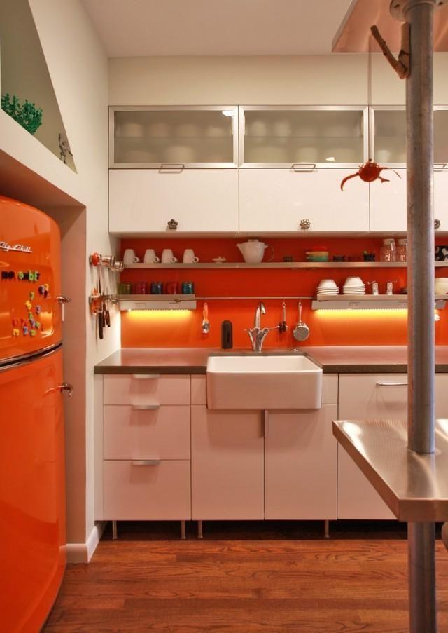 kitchen accessories design%0A Gorgeous Orange Kitchen Design With Led Lighting Under Cabinet Including  Orange Refrigerator Plus Granite Countertop And