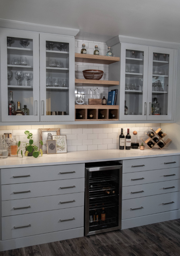 glass storage kitchen cabinets showplace evo kitchen maple pierce rh pinterest com