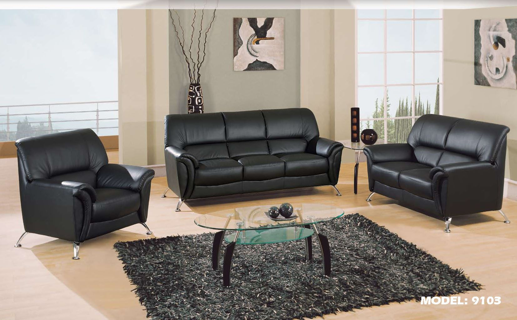Black leather sofa set home furniture design shop global furniture usa living room