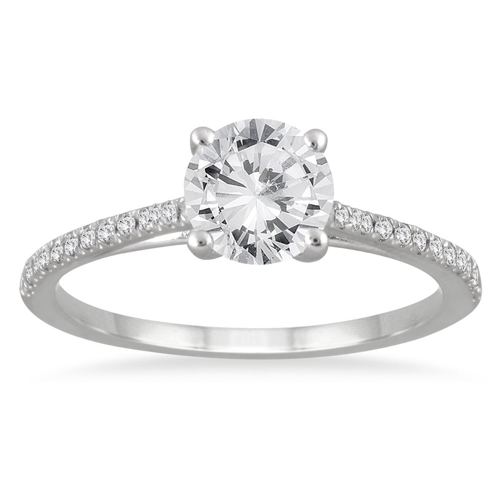 14k White Gold 1 16ct TDW White Diamond Cathedral Engagement Ring