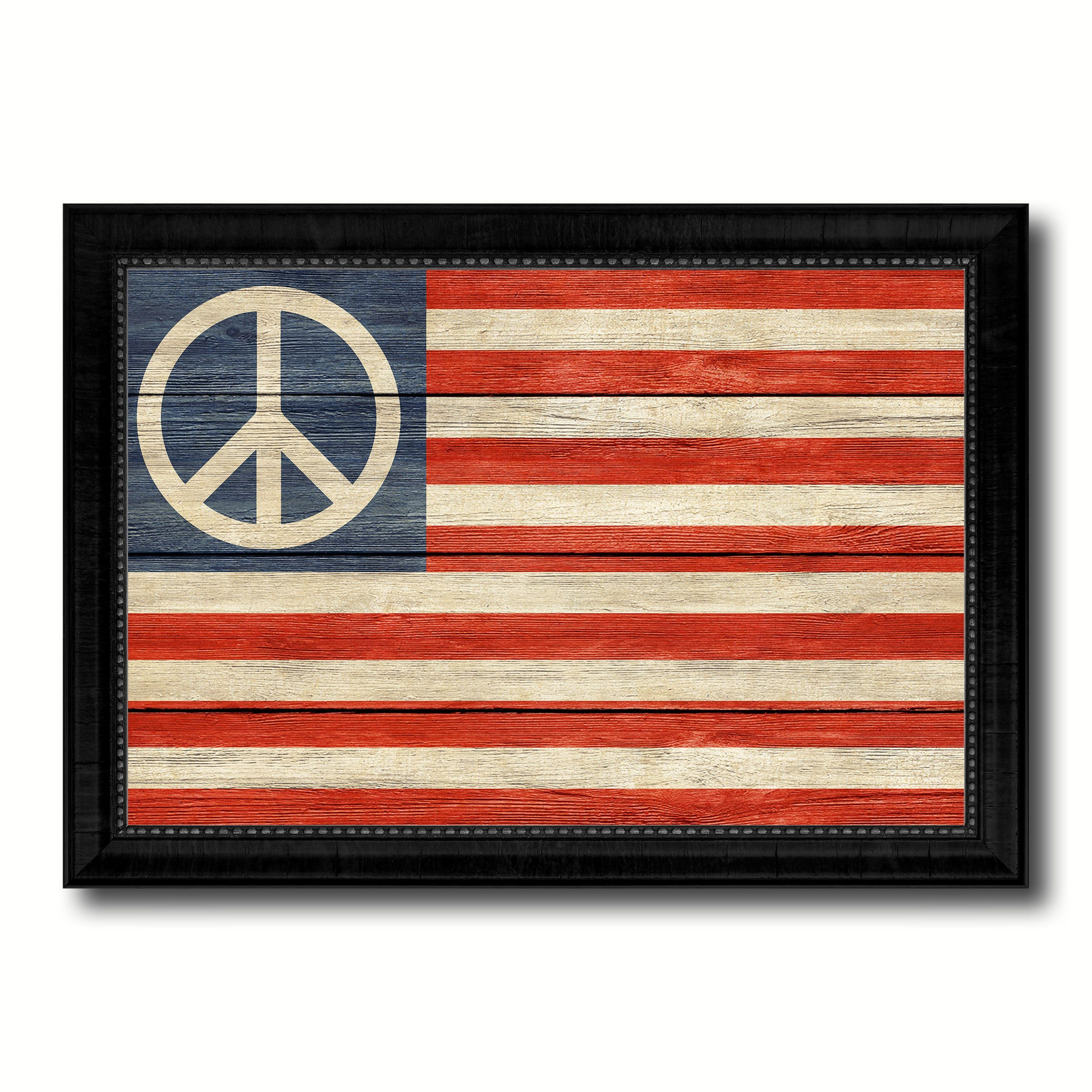 peace sign american military flag texture canvas print with black rh in pinterest com