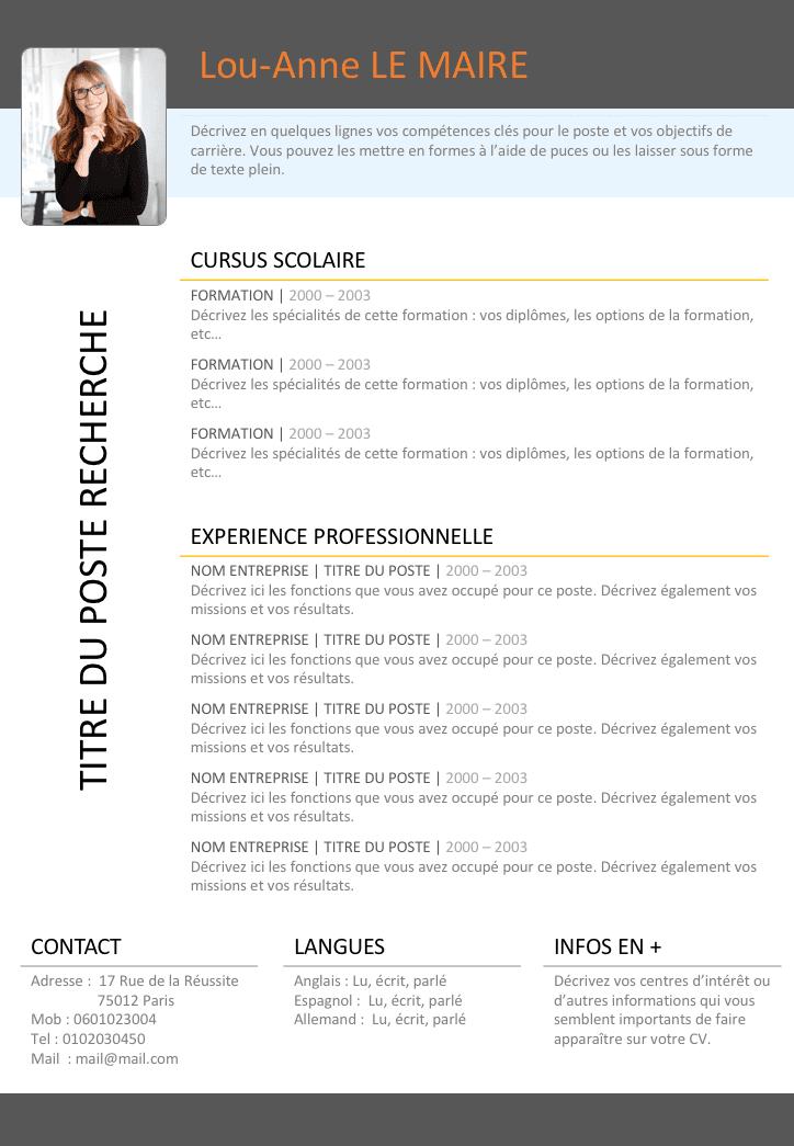 Telechargez Modele De Curriculum Vitae Professionnel Gratuitement Modele Cv Modele De Cv Design Modele De Cv Creatif