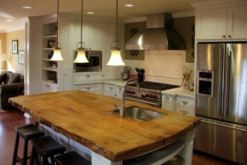 Love The Wood With Natural Edge Stainless Steel Top Kitchen Designs Wood Island Countertop Island Countertops