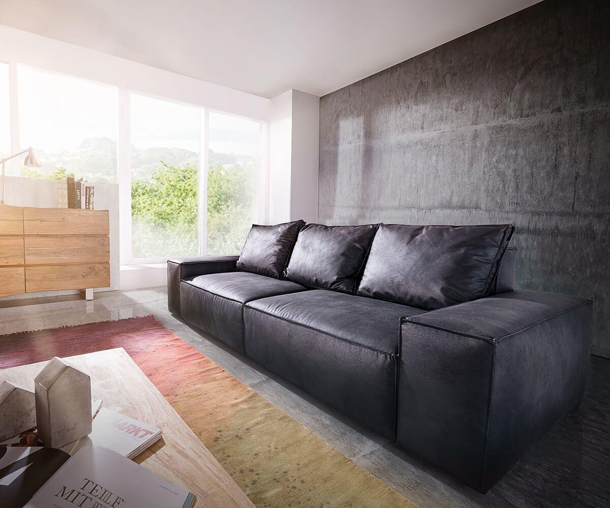 DELIFE Big-Sofa Sirpio 250x105 cm Anthrazit Vintage Kedernaht, Big ...