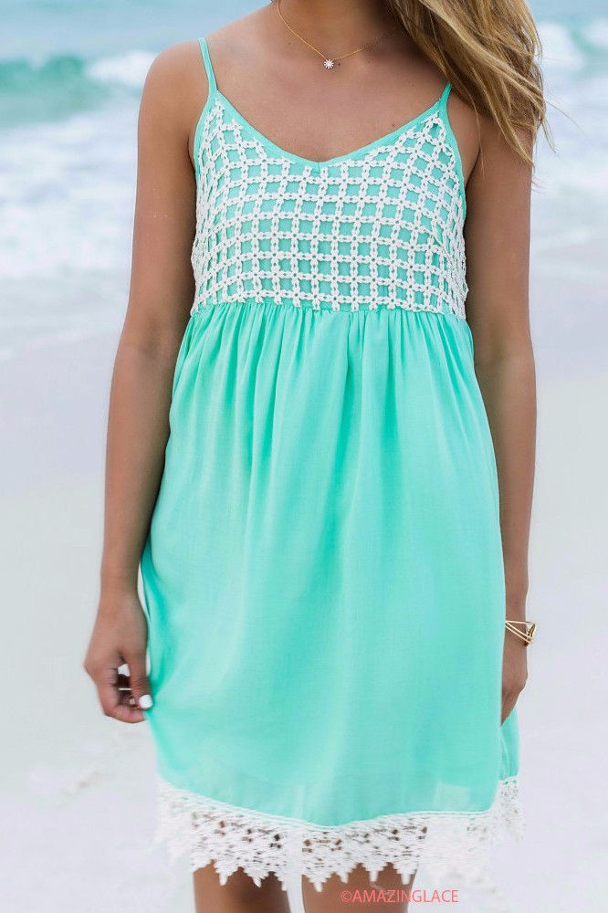Caribbean Cruise Mint Crochet Sundress | My Style | Pinterest ...
