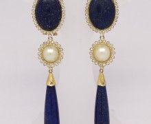 a215229ef4978 Brinco Lapis Lazuli Pérola Zircônio Ouro Amarelo 18k 750 (1)