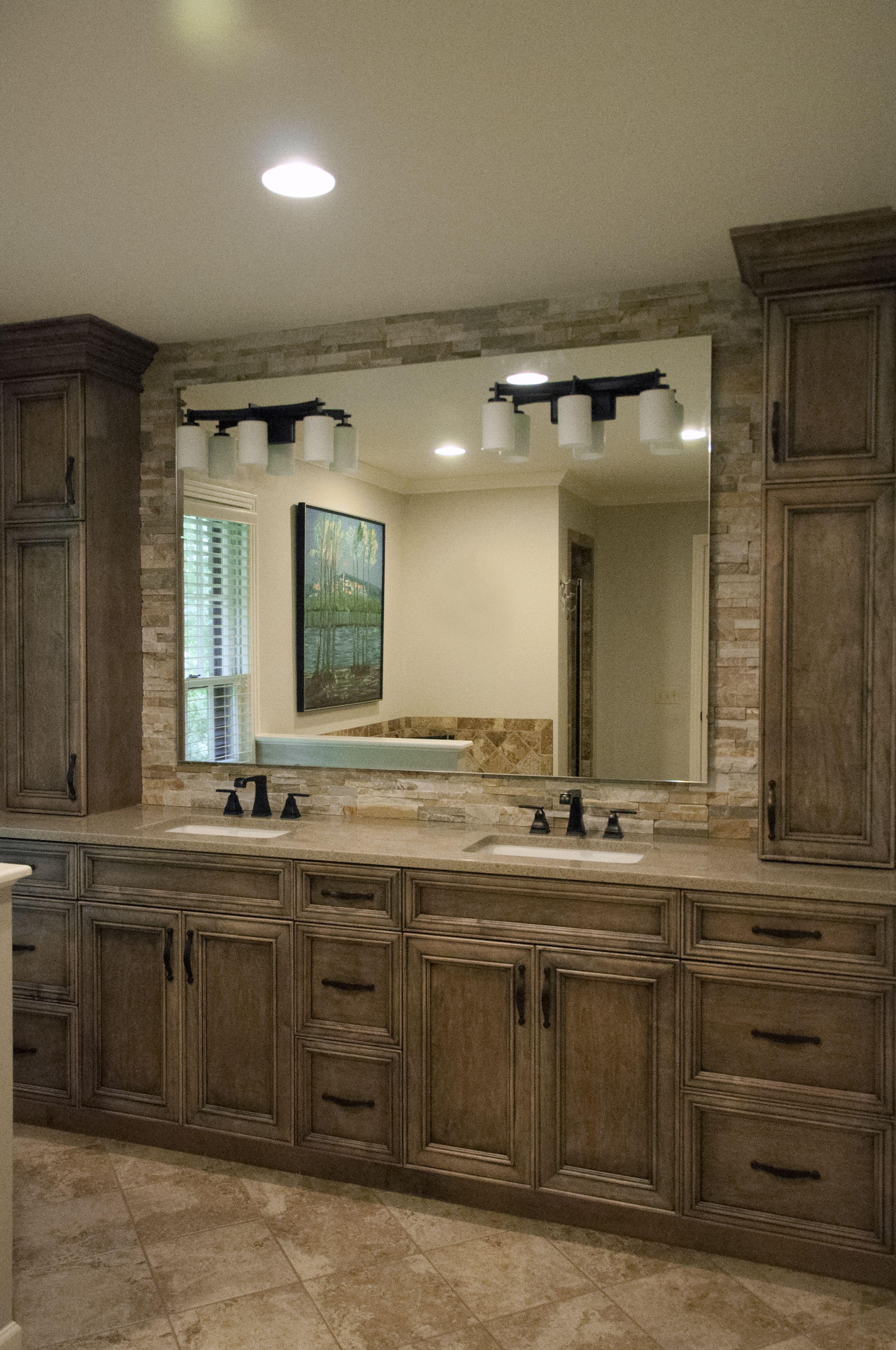 Rustic Master Bath | Kitchen/Bath Designer Terri Sears | Eudora Cabinetry |  Raised Mirror