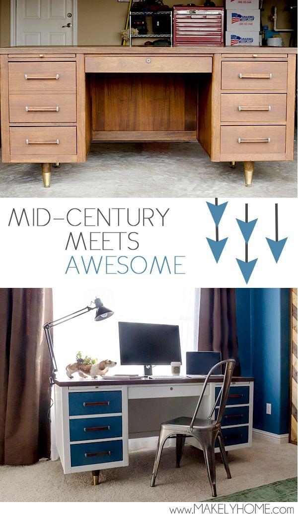 Refinished Mid Century Modern Desk Mid Century Desk Mid Century Modern Desk Modern Desk