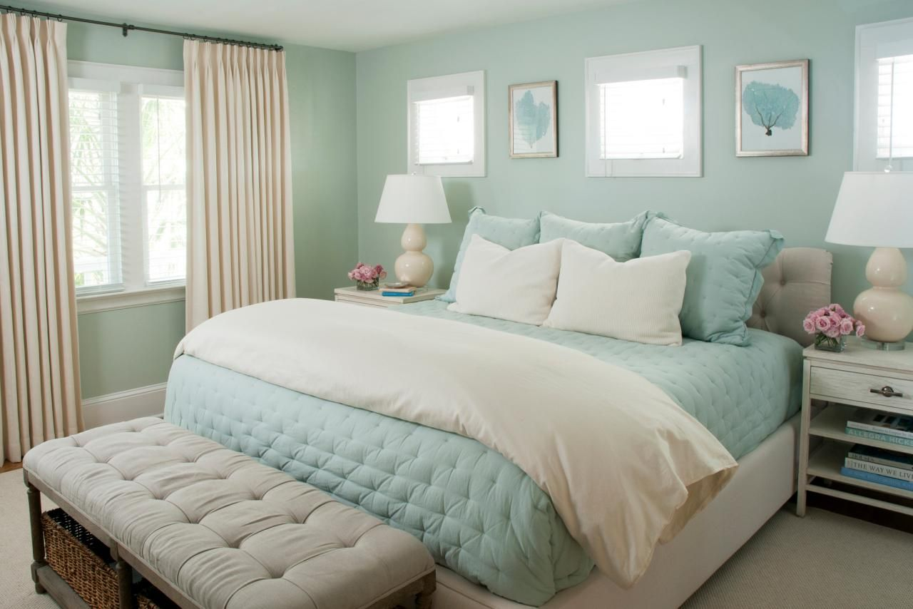 Hgtv Loves This Dreamy Coastal Bedroom With Seafoam Green Walls Pale Blue Bedding And Creamy
