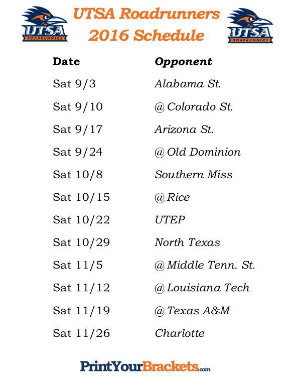 Printable Utsa Roadrunners Football Schedule 2016 Nc State