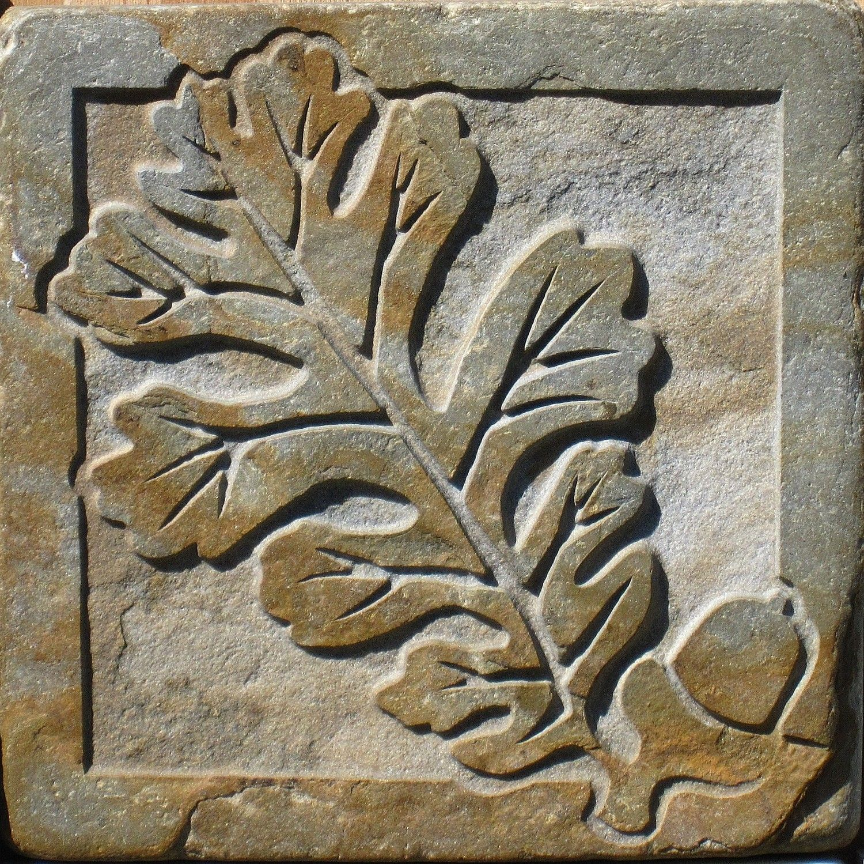 4x4 Slate Oak and Acorn Tile | 4x4, Slate and Etsy