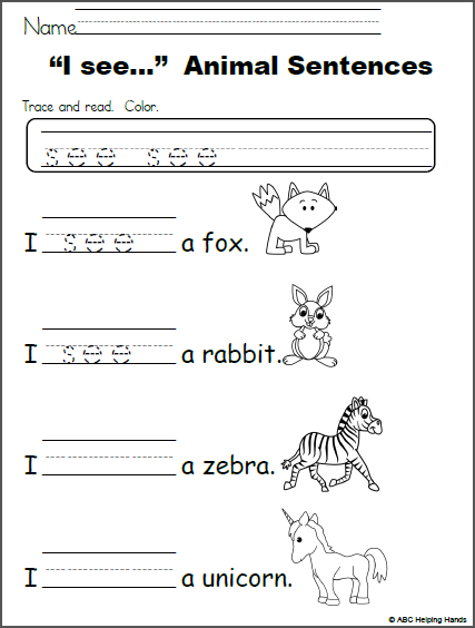I See Animal Sentences Editable Free Worksheet For Teachers