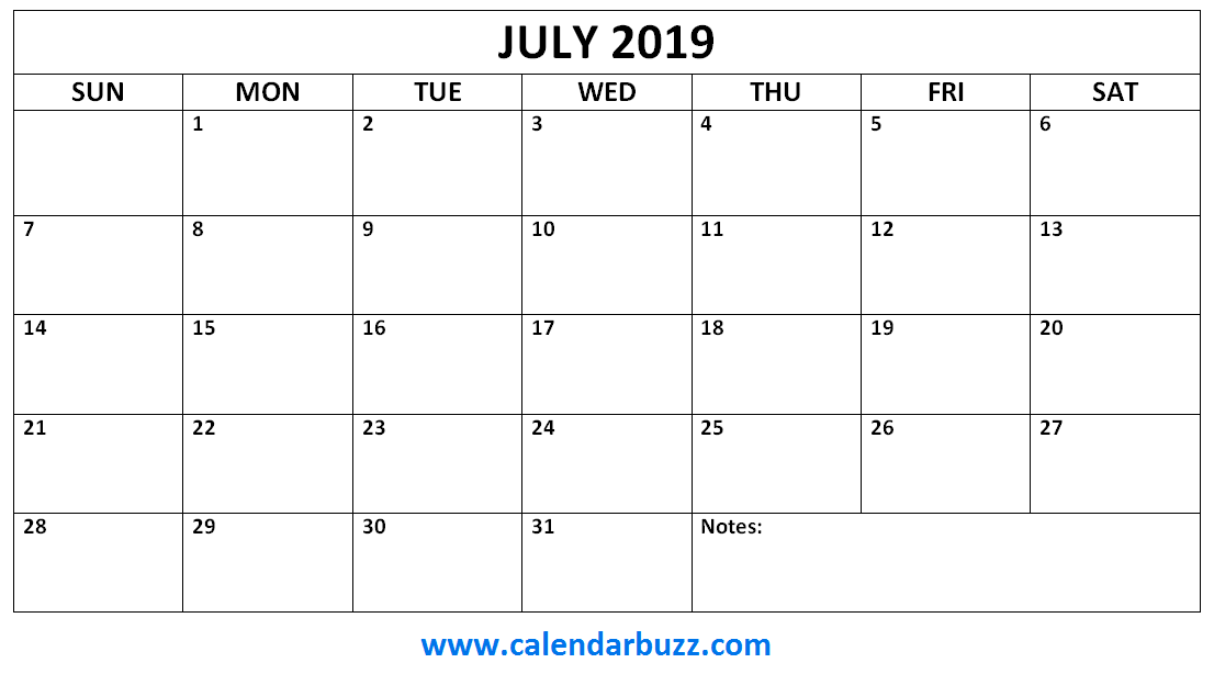 July 2019 Calendar Monthly Printable 2019 Calendars Monthly