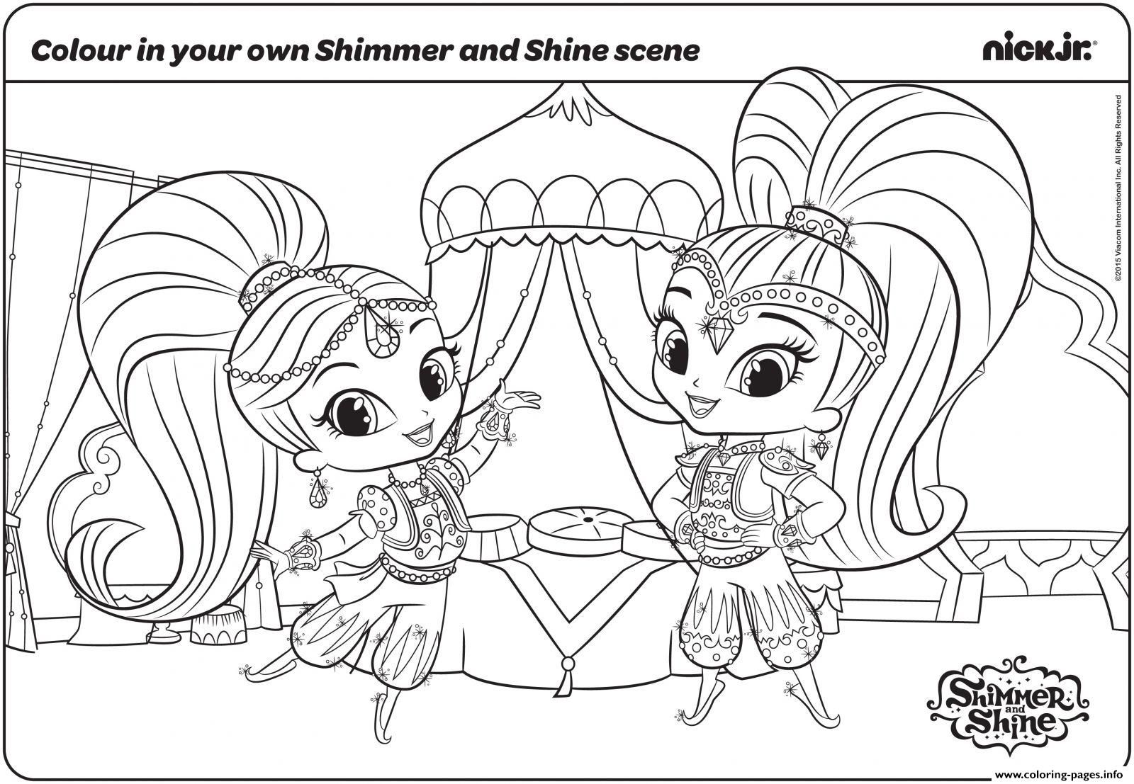 Print shimmer and shine fun with colouring page coloring pages