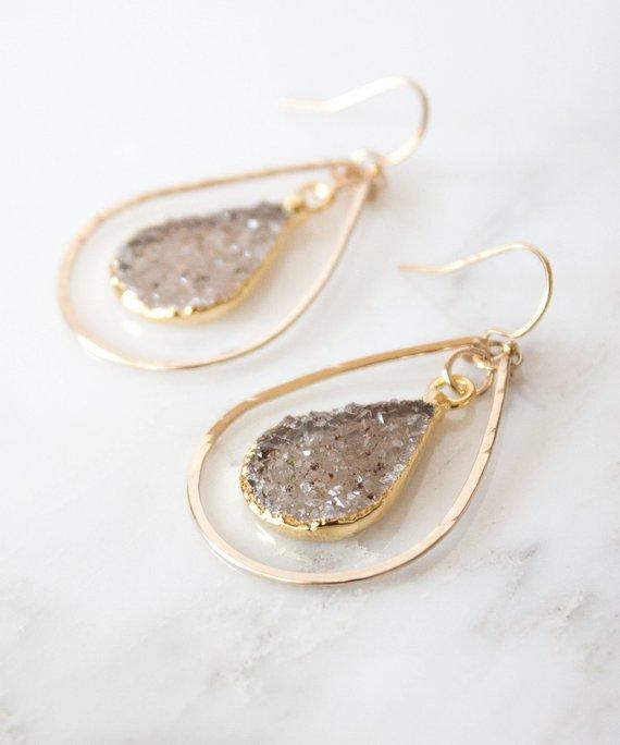 c6c3fa8fa Della Druzy Teardrop Earrings Small   Hammered Gold Hoop Earrings   14k  Gold Filled Earrings   Boho