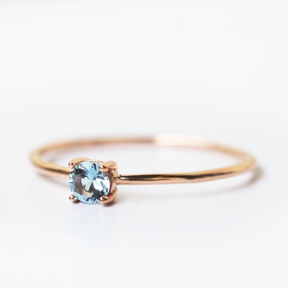 Aquamarine Ring March Birthstone Engagement Ring Aquamarine Jewelry