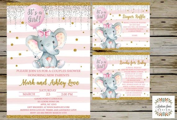 Pink, Gold & SILVER Elephant BABY SHOWER Invitation Elephant Baby Shower Invite Books for Baby Card #elephantitems