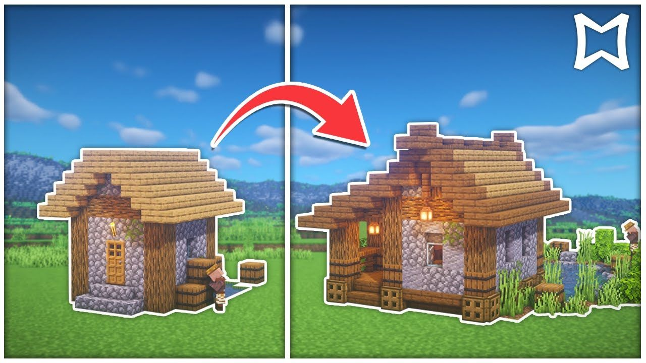 ► Minecraft Village Fishing hut Fisher Cottage Transformation