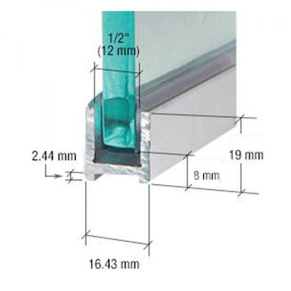 16 4 X 19mm Polished Silver U Channel 10mm Glass With Gasket