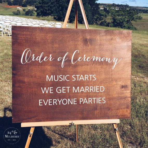 Wedding Ceremony Sign, Order of Ceremony, Rustic Wedding Sign, Wedding Sign, Married Sign #ceremonyideas