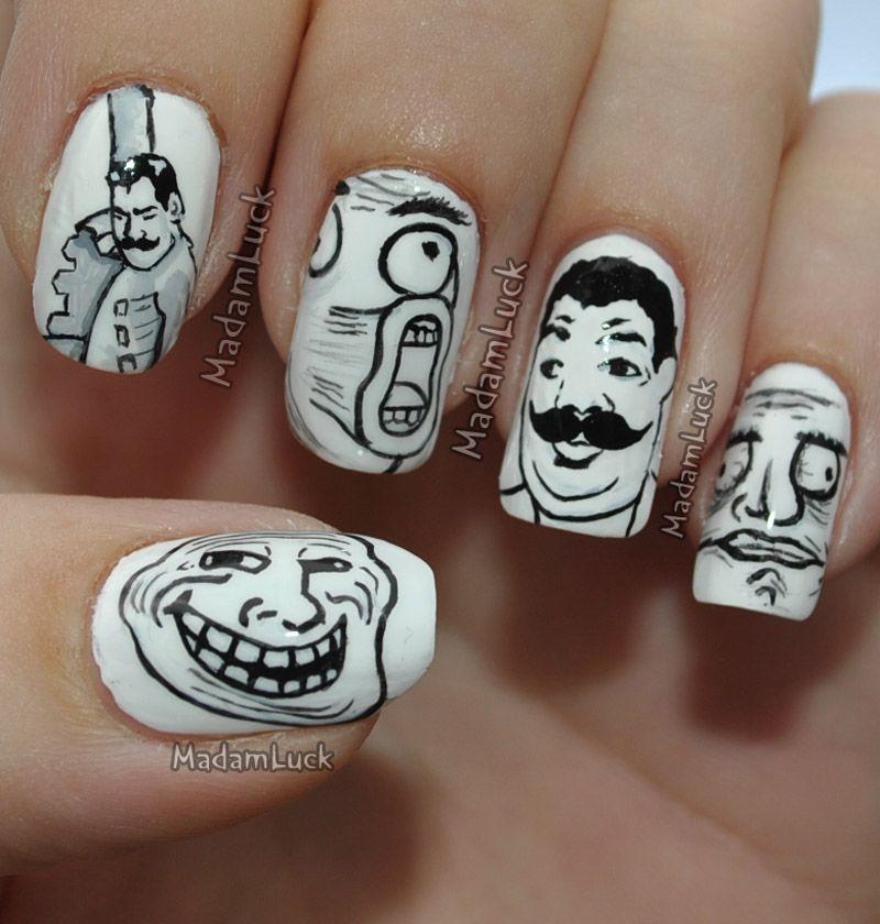 Meme Nail Art Cutie Nails Pinterest Meme Faces White Nail Art