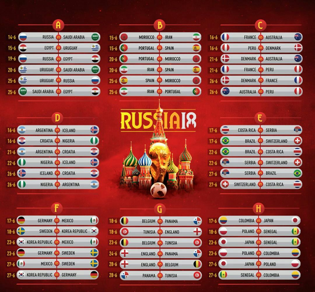 All Matches Of The Group Stage Of The 2018 Fifa World Cup Russia Worldcup2018 Worldcup Wc2018 Worldcuprussia2018 Fifaworldc Fifa Fifa World Cup World Cup