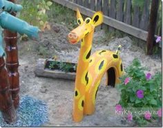 Giraffe from old tires.