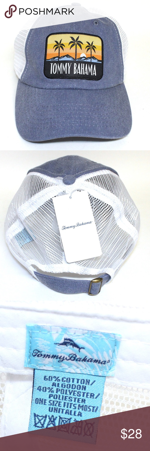 4254b862465da5 Tommy Bahama Hat Blue with White Mesh NWT Blue hat with white mesh  Adjustable New with Tag Palm Tree Patch One Size fits Most 60% Cotton 40 %  Polyester ...