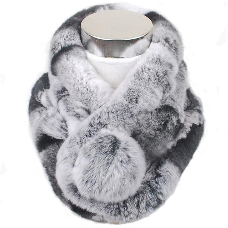 Grey Rex Rabbit Fur Scarf collar jNQNhatzK5