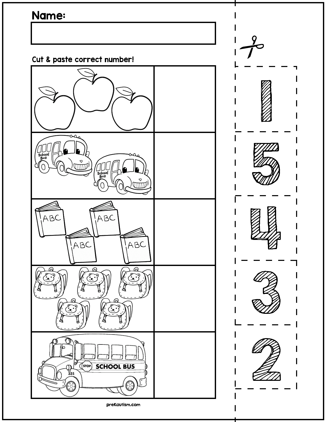 Back To School Cut Amp Match Worksheets