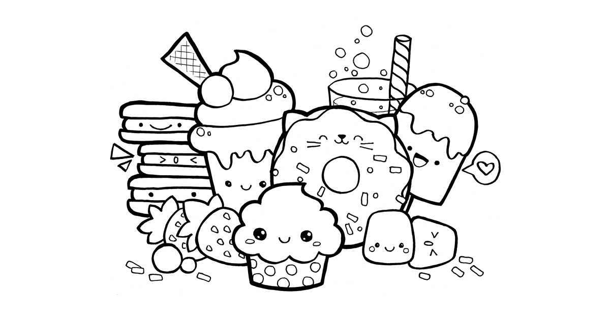 Kawaii Food Doodle FREE Printable Coloring Page Cute