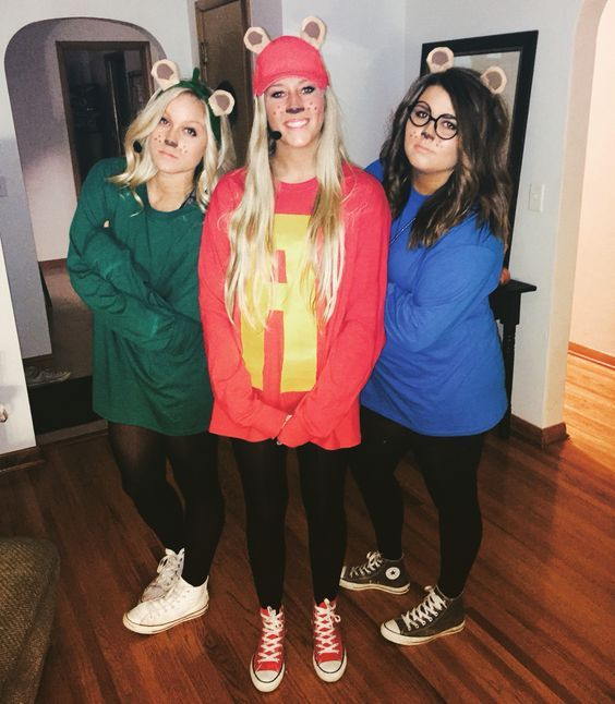 alvin-and-the-chipmunks-halloween-costume  sc 1 st  Pinterest & 50 Bold And Cute Group Halloween Costumes For Cheerful Girls ...