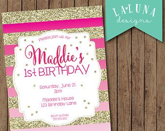 Pink ombre birthday invitation ombre invitation gold glitter pink ombre birthday invitation ombre invitation gold glitter stripes invitation girly birthday invite filmwisefo