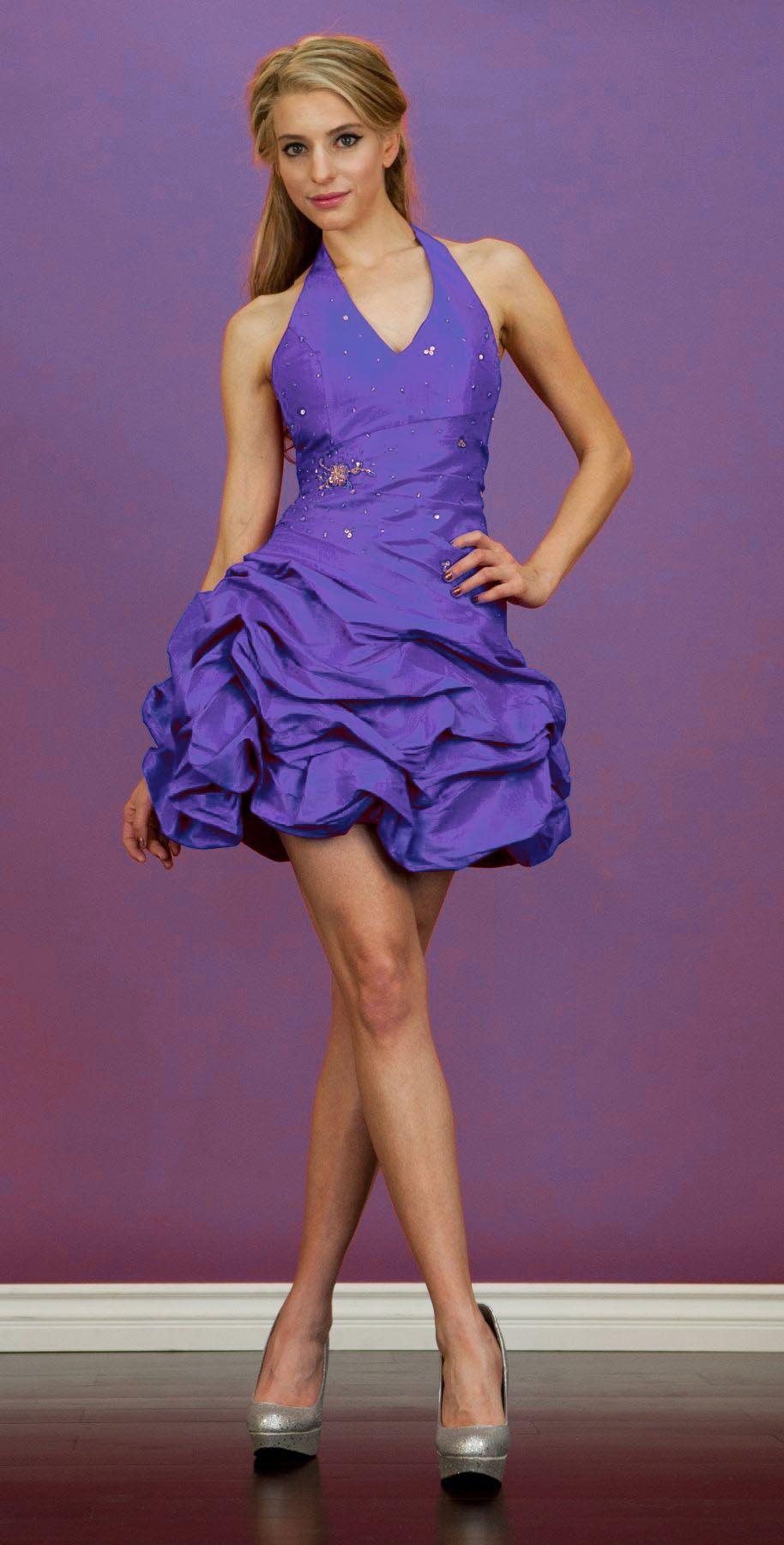 lilac taffeta short dress