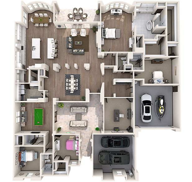 Dream home 3D Floor Plan Design France - I love the split level